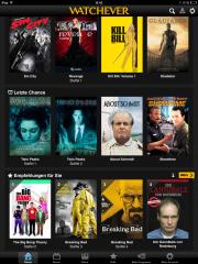 Watchever - Start-Bildschirm (nach Login) der iPad App - iPad Screenshot