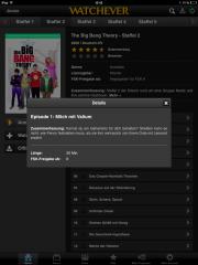 Watchever - Informationen zu Filmen und Serien werden auch angeboten - iPad Screenshot