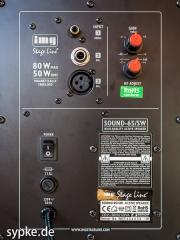 Aktiver Studiomonitor IMG Stage Line SOUND-65/SW Rückansicht - Bedienpanel