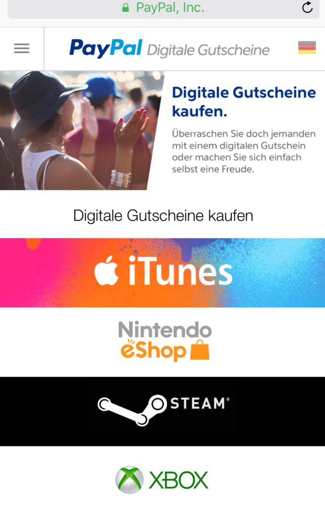 PayPal Gifts iTunes Guthaben